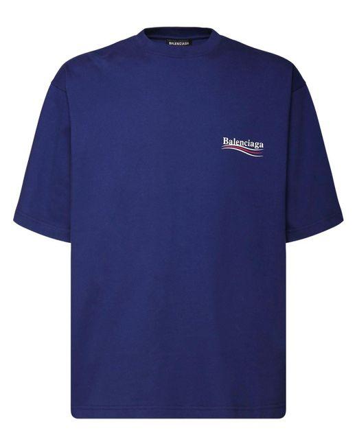 メンズ Balenciaga コットンジャージーtシャツ Blue