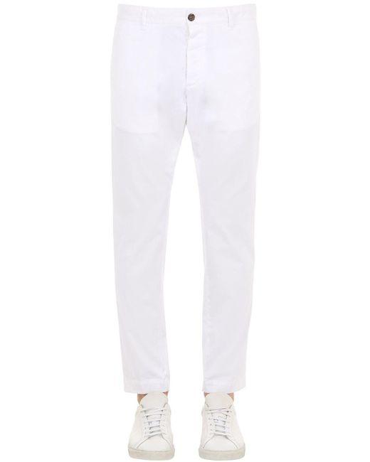 メンズ DSquared² コットンキャンバスチノパンツ 16.5cm White