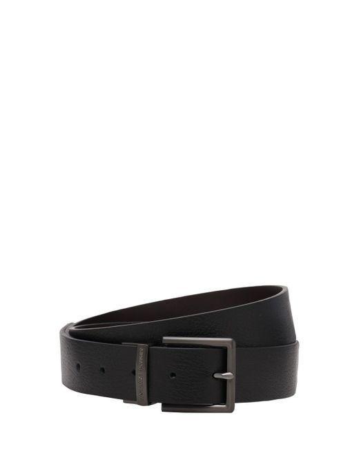 メンズ Armani Exchange リバーシブルレザーベルト 3.5cm Black