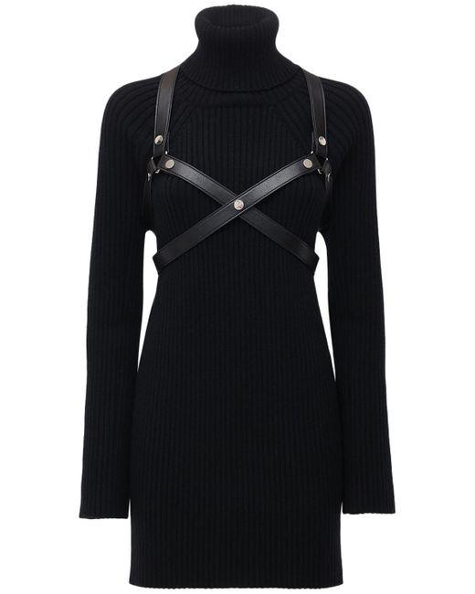 Junya Watanabe ハーネス付きウールリブニットドレス Black