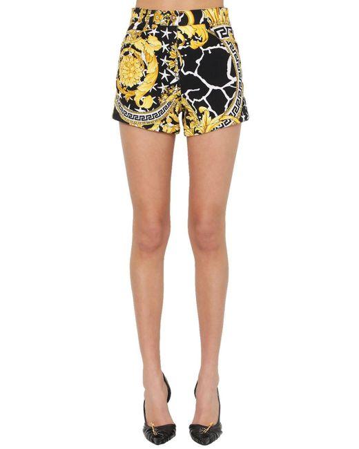 Versace コットンデニム ハイウェストショートパンツ Multicolor