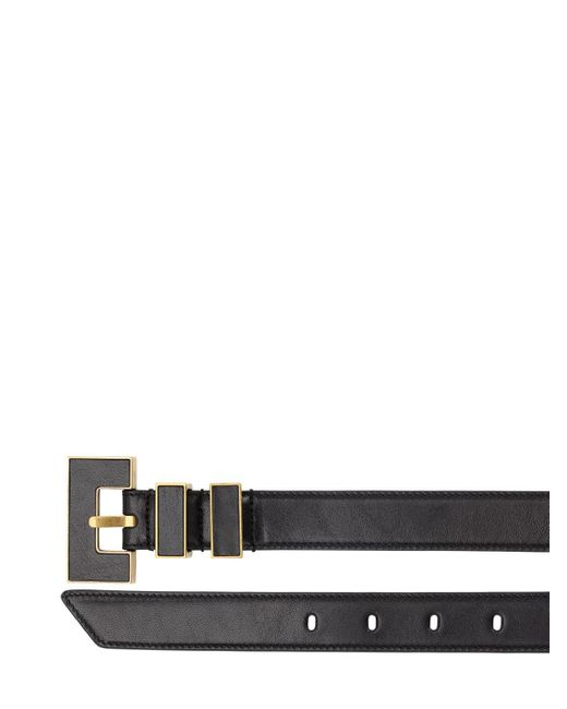 メンズ Saint Laurent メタルバックル レザーベルト 25mm Black