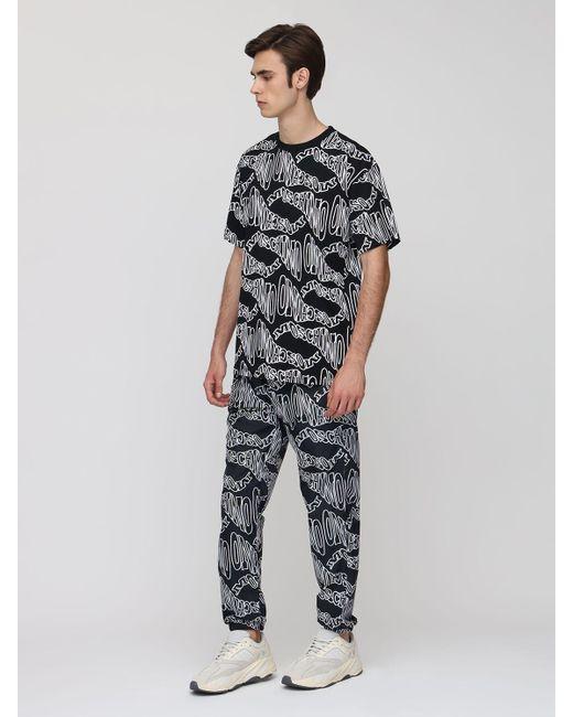 メンズ Moschino オーバーサイズプリントコットンtシャツ Black