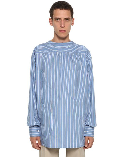 メンズ Lanvin ツーウェイ ストライプコットンシャツ Blue