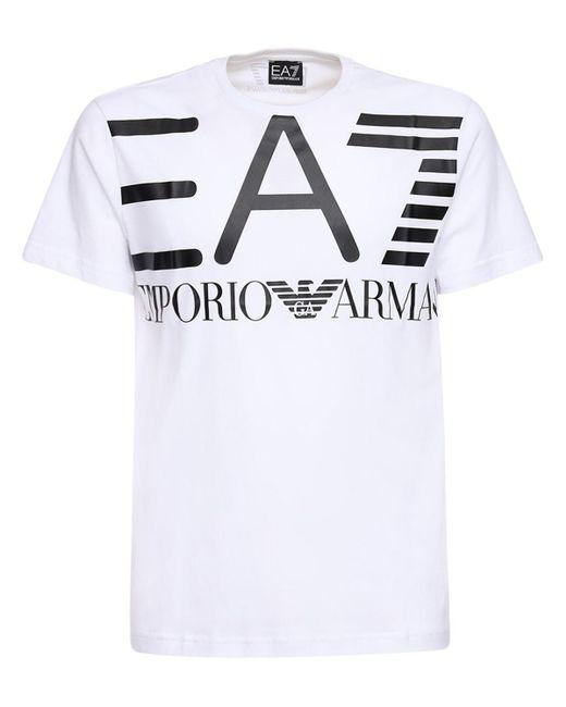 メンズ EA7 ロゴプリント コットンジャージーtシャツ White