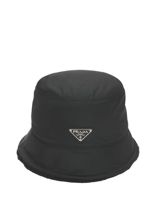 Prada Black Nylon & Shearling Bucket Hat