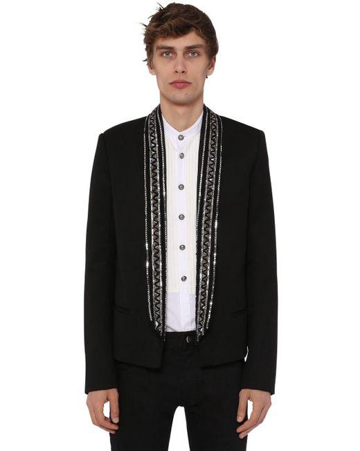 メンズ Balmain ウールジャケット Black