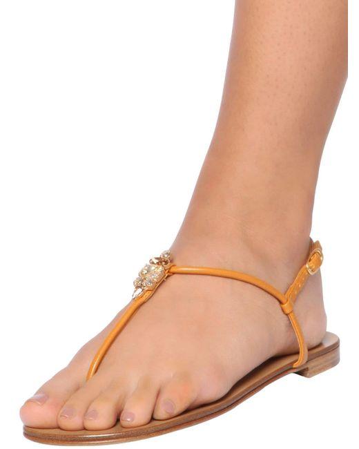 Giuseppe Zanotti Women's Natural 10mm Leather Thong Flats