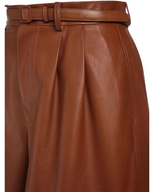 Ralph Lauren Collection レザーショートパンツ Brown