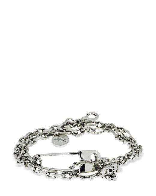 メンズ Alexander McQueen Safety Pin Bracelet Metallic