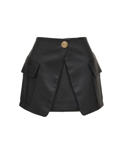 Кожаная Мини-юбка Balmain, цвет: Black