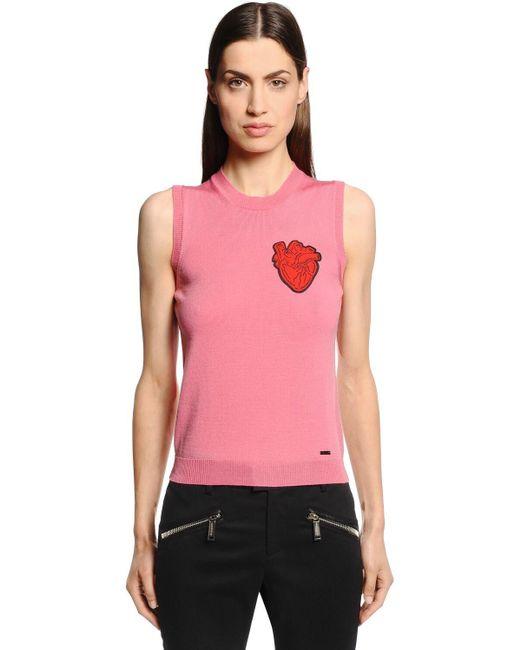 DSquared² Heart ウール ノースリーブセーター Pink