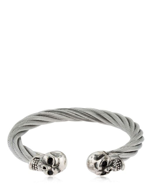 Cantini Mc Firenze - Metallic Twisted Double Skull Bracelet for Men - Lyst