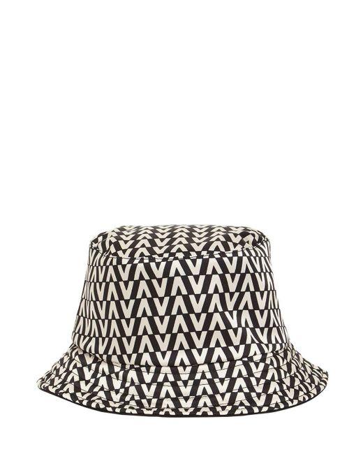 Valentino Garavani Black Valentino Garavani Vlogo Signature Printed Twill Bucket Hat