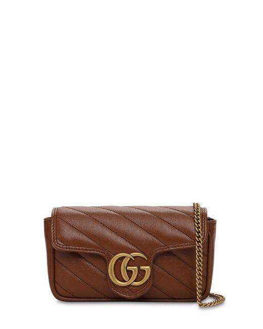 Кожаная Сумка Super Mini Gg Marmont Gucci, цвет: Brown