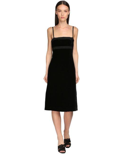 Brock Collection キャミソールベルベットミディドレス Black