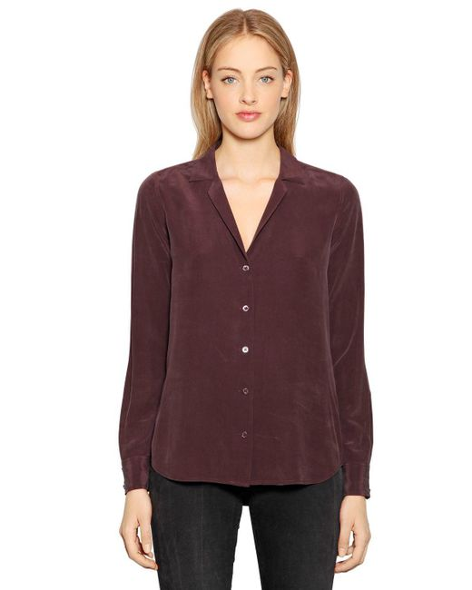 Equipment - Purple Adalyn Silk Shirt - Lyst
