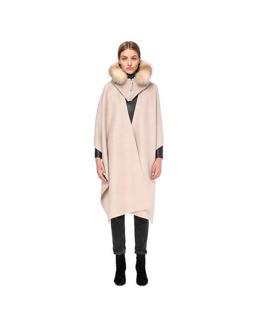 Mackage - Natural Helina-x Wool Cloak With Fur Trim - Lyst