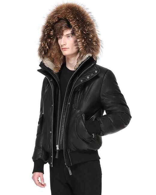 Mackage Glen Winter Bomber Down Leather Parka With Fur in Black ...