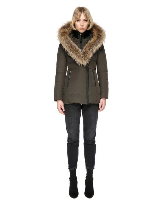 Mackage | Blue Adali Fitted Winter Down Coat With Fur Hood In Army | Lyst