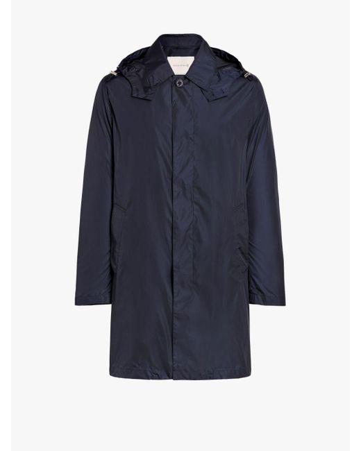 Mackintosh Blue Concealed Fastening Hooded Raincoat for men