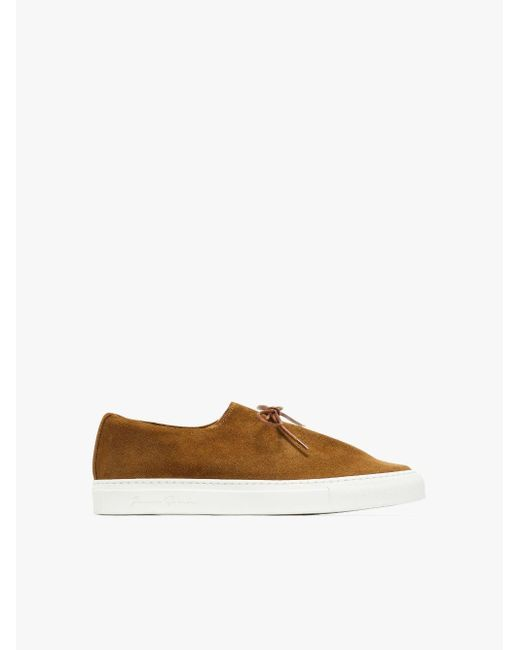 Mackintosh Brown Jacques Solovière Tobacco Suede Sneakers for men