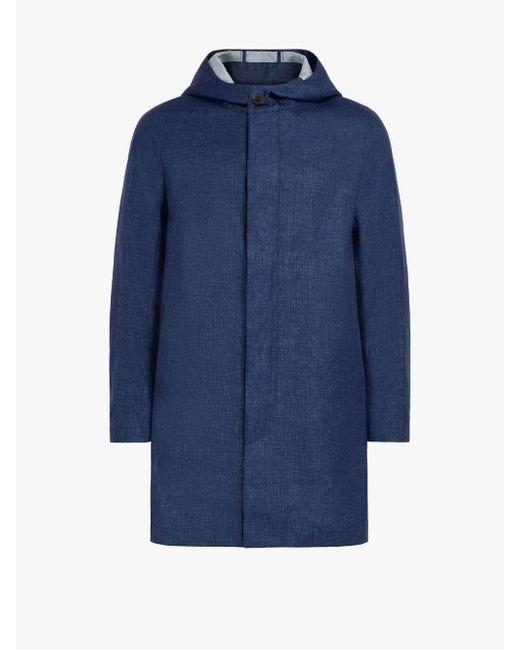 Mackintosh Blue Dark Indigo Storm System Linen Short Hooded Coat Gm-007b/sh for men