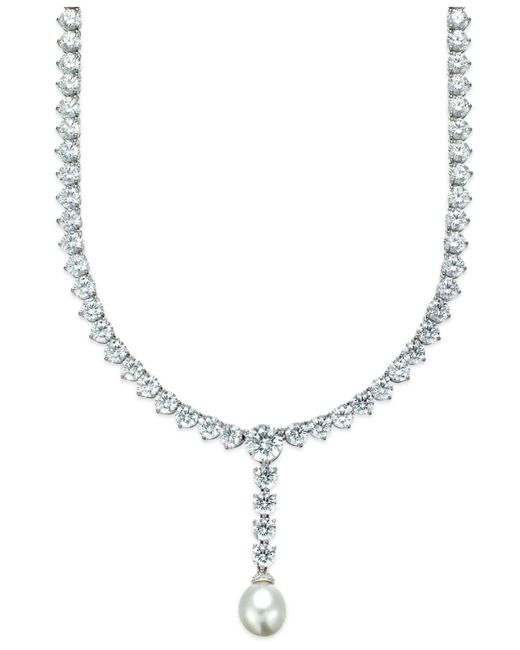 Arabella - Metallic Cultured Freshwater Pearl (10mm) And Swarovski Zirconia (75-3/4 Ct. T.w.) Necklace In Sterling Silver - Lyst