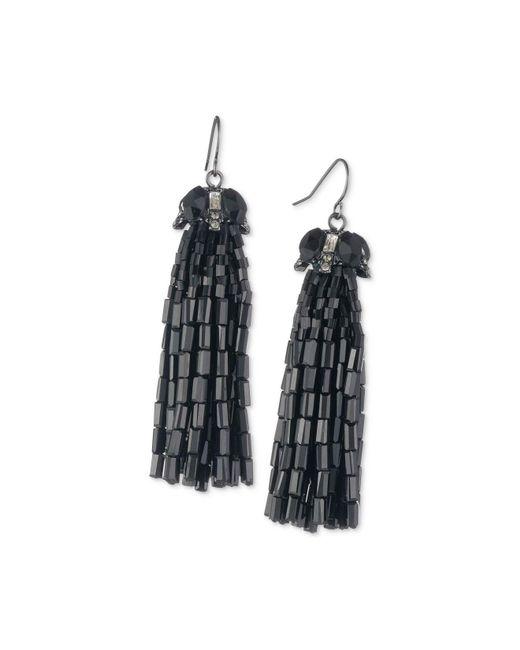 Carolee   Black Hematite-tone Tassel Drop Earrings   Lyst