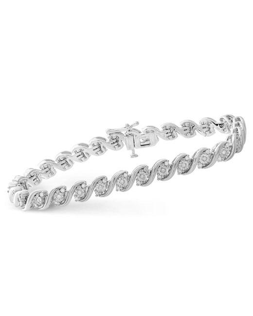 Macy's | Metallic Diamond Twist Bracelet (1 Ct. T.w.) In Sterling Silver | Lyst