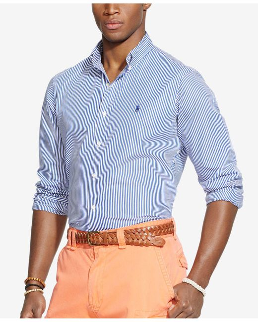 Polo Ralph Lauren | Blue Striped Poplin Shirt for Men | Lyst