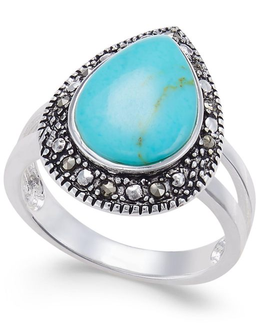 Macy's | Blue Manufactured Turquoise & Marcasite Teardrop Ring In Silver-plate | Lyst