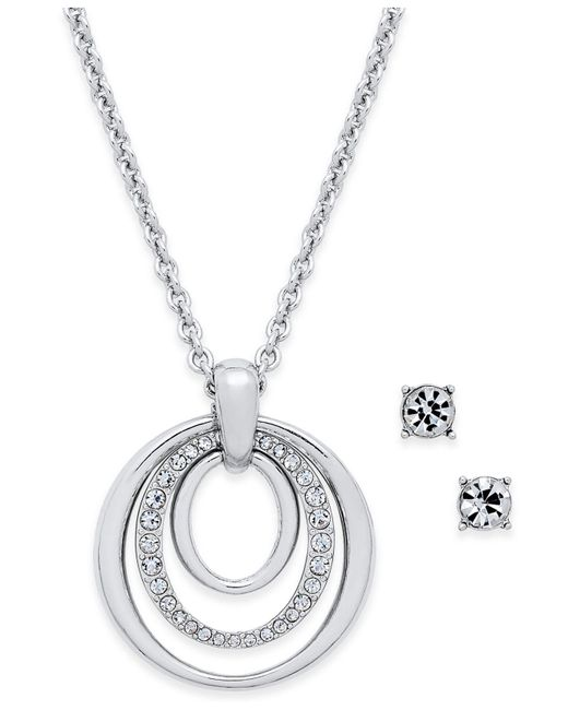 Charter Club | Metallic Pavé Pendant Necklace & Crystal Stud Earrings Set | Lyst
