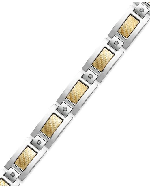 Macy's - Metallic Men's Inlay Diamond Bracelet In Stainless Steel And 18k Gold (1/5 Ct. T.w.) - Lyst