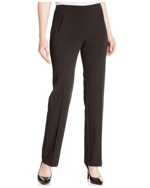 Style & Co. | Brown Petite Straight-leg Tummy-control Pants | Lyst