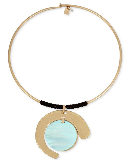 "Robert Lee Morris - Blue Gold-tone Imitation Mother-of-pearl & Wrapped Leather 16"" Pendant Necklace - Lyst"