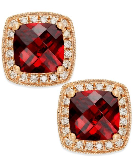 Macy's - Red Garnet (2-1/4 Ct. T.w.) And Diamond Accent Stud Earrings In 14k Rose Gold - Lyst