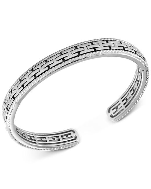 Effy Collection   Metallic Men's Chain-look Textured Cuff Bracelet In Sterling Silver   Lyst