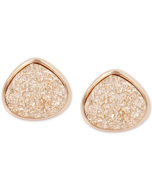 Kenneth Cole - Metallic Rose Gold-tone Druzy Stone Stud Earrings - Lyst