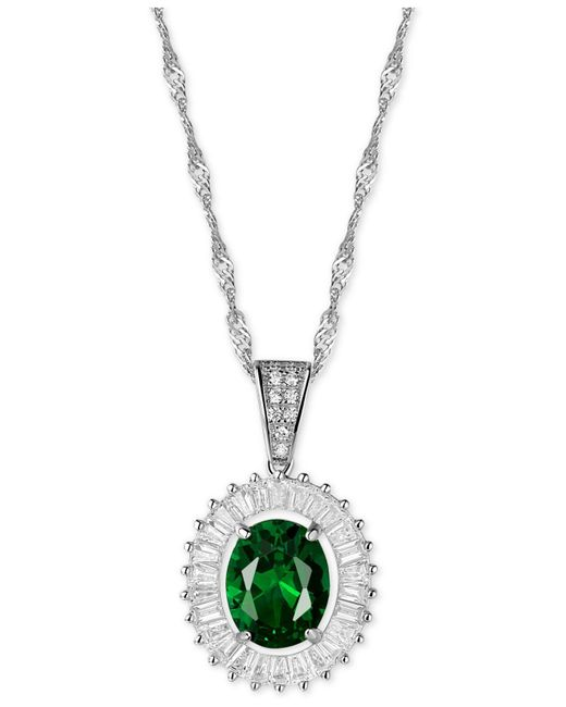 Macy's - Green Cubic Zirconia And Simulated Stone Pendant Necklace In Sterling Silver - Lyst