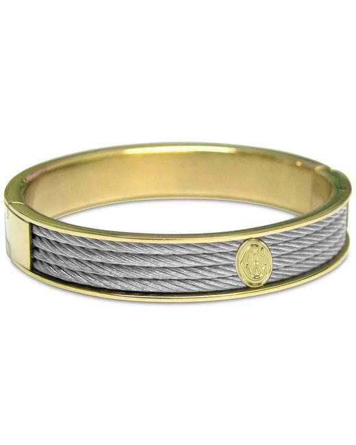 Charriol Metallic Cable Two-tone Bangle Bracelet In Stainless Steel & Gold-tone Pvd Stainless Steel