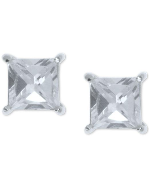 Ivanka Trump - Metallic Cubic Zirconia Square Stud Earrings - Lyst
