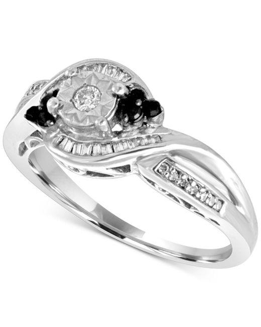Macy's - Metallic Diamond Twist Ring (1/4 Ct. T.w.) In Sterling Silver - Lyst
