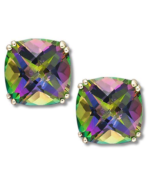 Macy's | Metallic 14k Gold Earrings, Cushion Cut Mystic Topaz Stud Earrings (9-1/2 Ct. T.w.) | Lyst