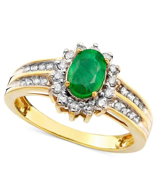 Macy's - Green Emerald (3/4 Ct. T.w.) And Diamond (3/8 Ct. T.w.) Ring In 14k Gold - Lyst