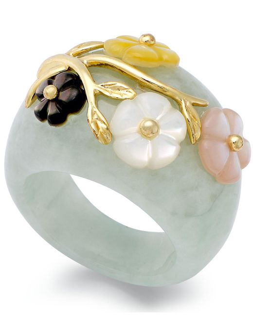Macy's | Green 14k Gold Over Sterling Silver Ring, Jade Or Onyx And Multicolored Mother Of Pearl Flower Ring | Lyst