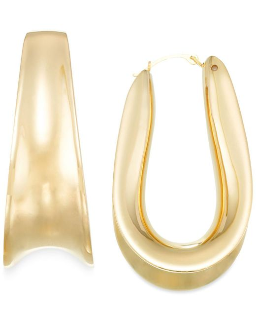 Signature Gold - Metallic Wide-set Hoop Earrings In 14k Gold - Lyst