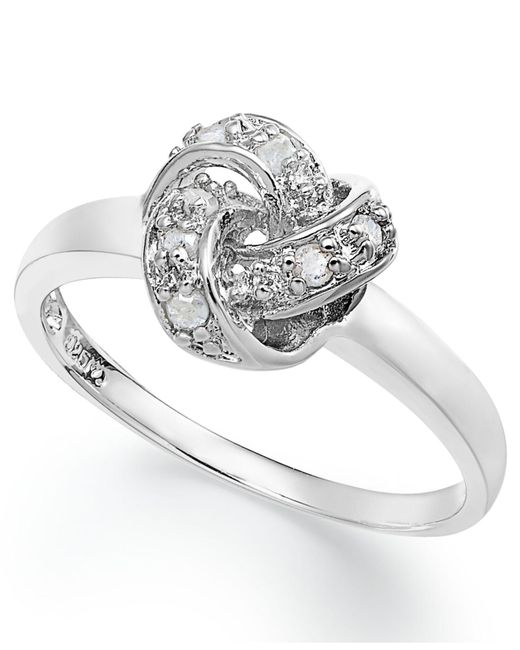 Macy's - Metallic Diamond Love Knot Ring In Sterling Silver (1/10 Ct. T.w.) - Lyst