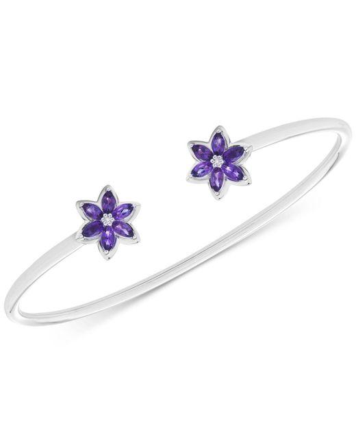 Macy's - Metallic Amethyst (1 Ct. T.w.) & Diamond Accents Flower Cuff Bracelet In Sterling Silver - Lyst