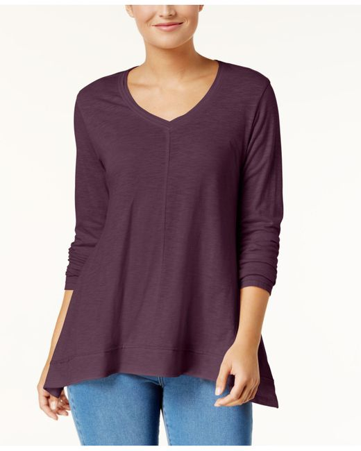 Style & Co. - Purple V-neck Swing Top, Created For Macy's - Lyst